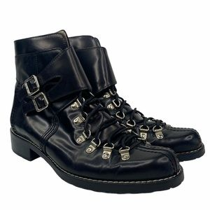 Michael Kors Black Moto Ankle Leather Buckle Boots